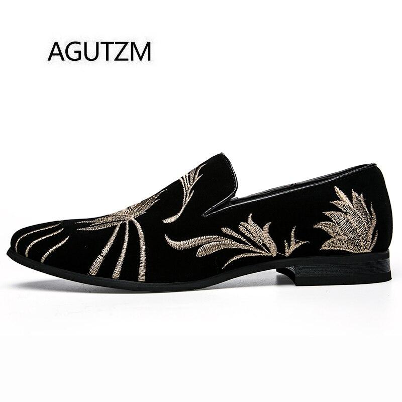 Cuadrado Agutzm Slip Colores Black Los Bordado Mezclados Zapatos De Hombres Ocasionales Tacón Hermoso On 2390 Estilo Moda Goma Suela qWAAw1YBz