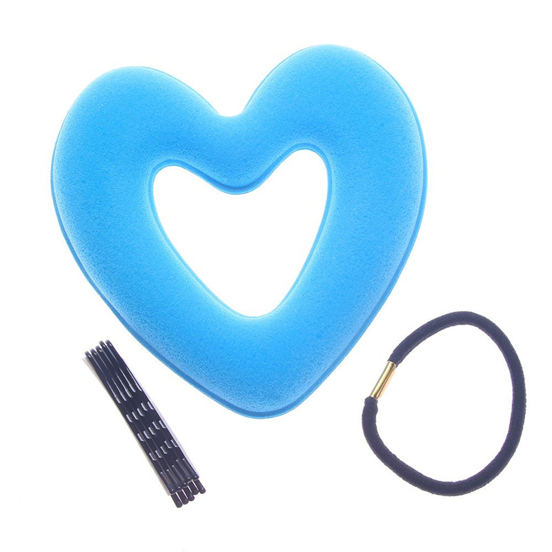Portable  Women Lady Hair Donut Bun Heart Maker Magic Foam Sponge Princess Hairstyle Hairbands+Clip Bband Free Shipping