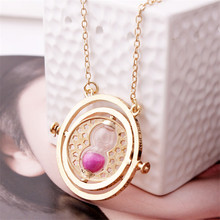 Vintage jewelry accessories Novelty style necklace 360 degree Time Converter Rotation Turner Hourglass Golden Pendant Necklaces