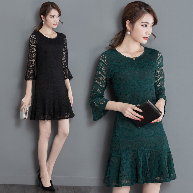 2dfd92edc Green Black Lace Dress Elegant Ladies Summer Dress Women Dress Party Short