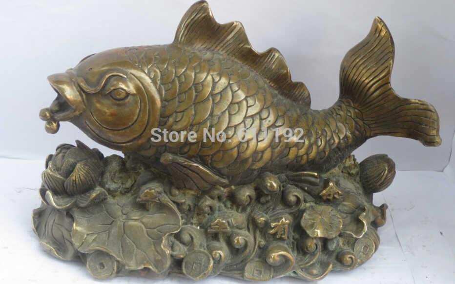 Antico FengShui home decor Pesce Fortunato scultura In Metallo artigianato, moneta di Rame statua