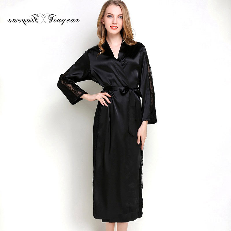 ca0c414748 Tinyear women s long satin robe 100% polyester ladies silk robes and  bathrobes full sleeve long