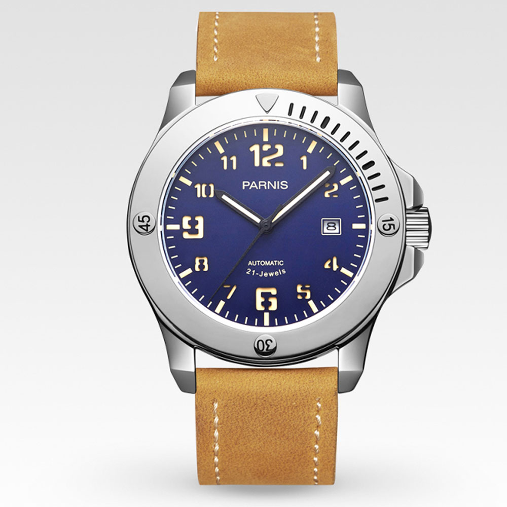 44mm parnis Blue Dial Calendar Leather Brushed Stainless steel Case Sapphire Crystal Miyota Automatic Mechanical Men's Watches suunto core brushed steel brown leather