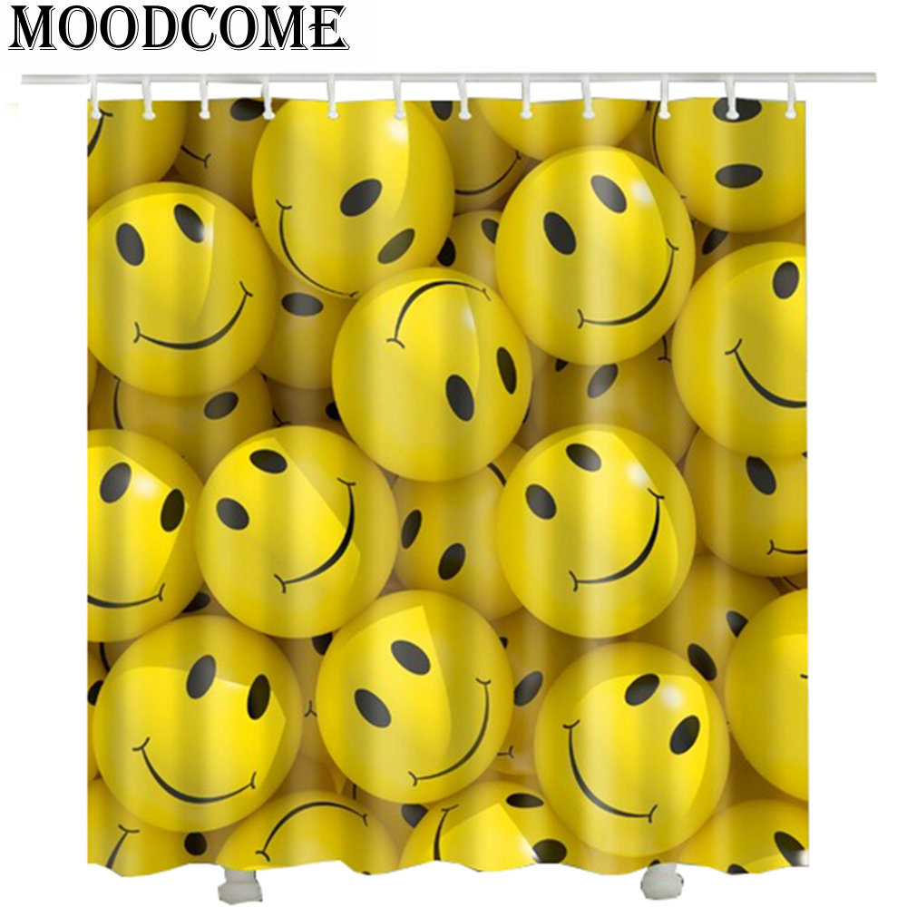 Smile Emoji Shower Curtain Funny Cortinas Bano Drop Shipping Bathroom In Curtains From Home Garden On Aliexpress
