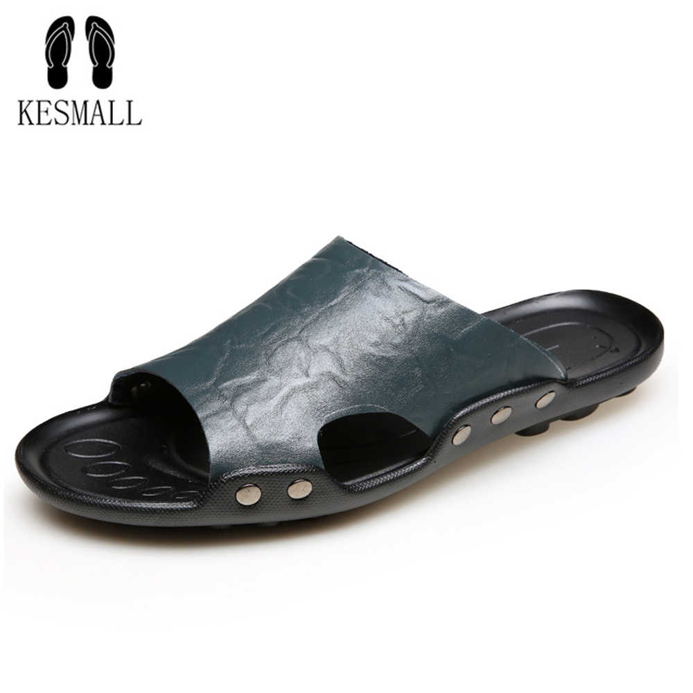 df688a9cd7551 KESMALL 2018 New Men s Flip Flops Genuine Leather Slippers Summer Fashion Beach  Slippers Sandals Shoes For
