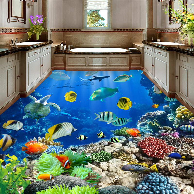 beibehang underwater world Tropical bathroom 3d flooring waterproof self-adhesive wall paper roll sticker painting 3d wallpaper munro canada and the world wars paper only