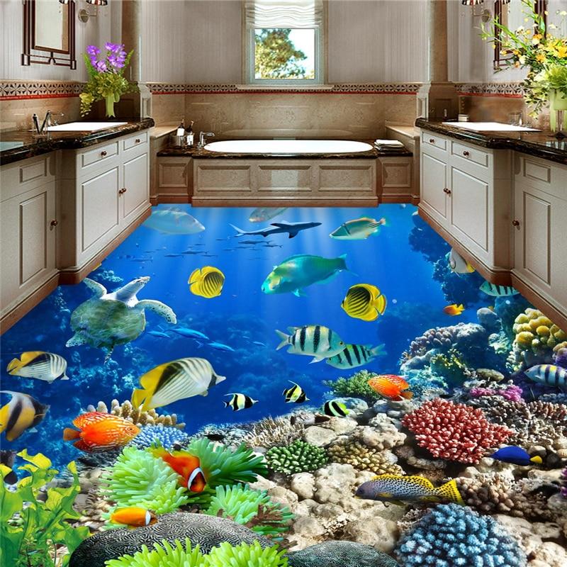 цена на beibehang underwater world Tropical bathroom 3d flooring waterproof self-adhesive wall paper roll sticker painting 3d wallpaper