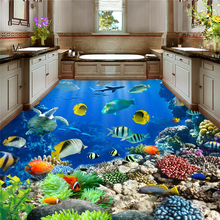 underwater world Tropical bathroom floor 3D waterproof self-adhesive wall paper roll sticker painting 3D wallpaper for walls 3 d free shipping beauty diving dolphin underwater world floor wallpaper porch hotel waterproof self adhesive non slip floor mural