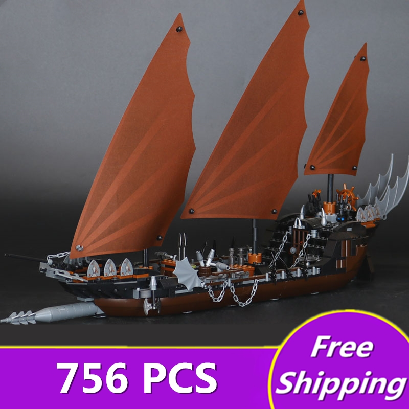 [ZXZ]Legone 16018 756pcs Lord Of Rings Series Ghost Pirate Ship Building Block Compatible Building blocks Toy Christmas Gift lepin movie series ghost pirate ship 16018 756pcs building block for children toys 79008 compatible legoe pirate ship
