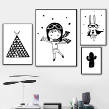 Black And White Cartoon Canvas Painting Cactus Wall Art Poster Nordic Minimalist Baby Room Nursery Print Unframed