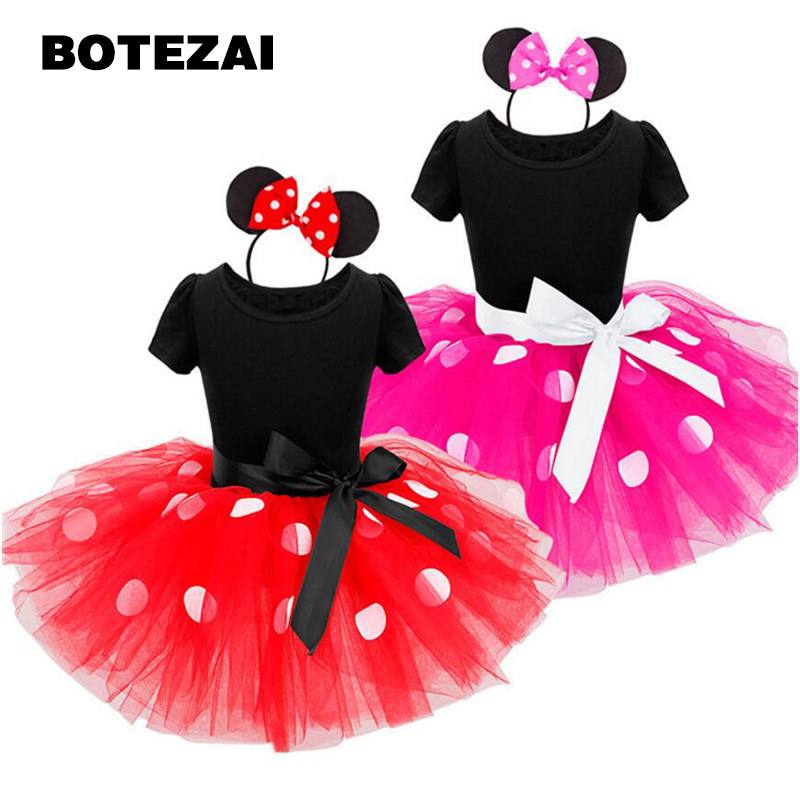 New kids dress minnie mouse princess party costume infant clothing Polka dot baby clothes birthday girls tutu dresses Headband 1set baby girl polka dot headband romper tutu outfit party birthday costume 6 colors