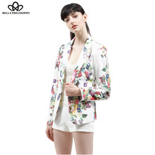 2016 autumn winter new women's clothing fashion flroal printing slim suit suit button women white blazer coat real photo