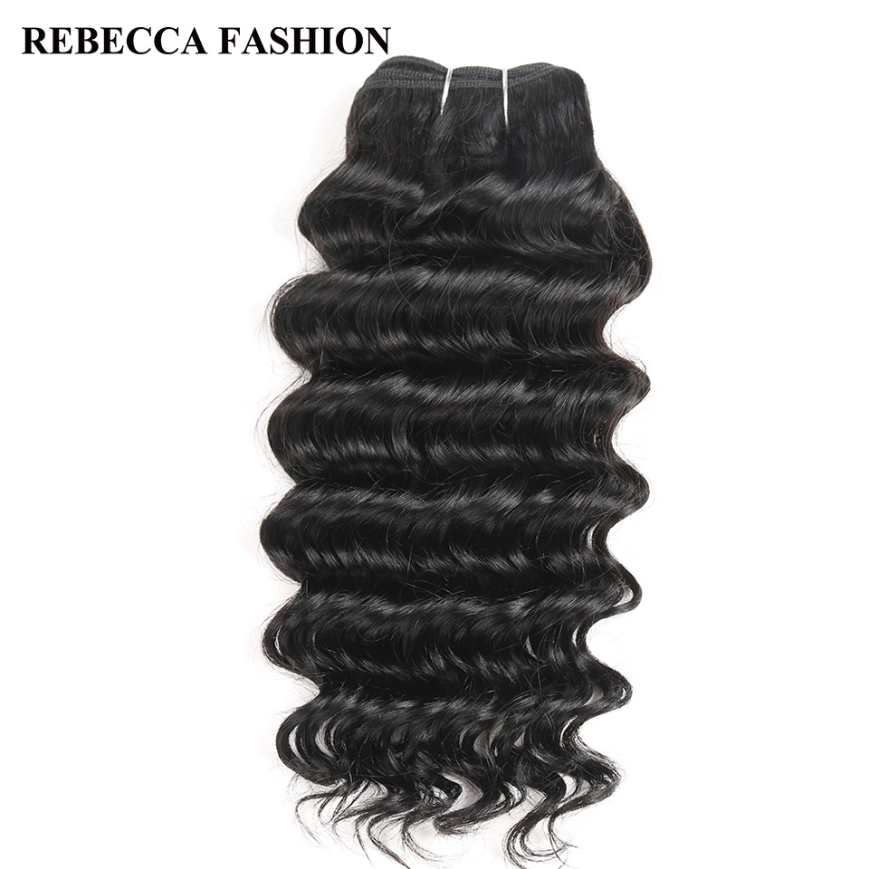 Rebecca Remy Human Hair Deep Wave Brazilian Hair Weave Bundles 100g Natural Black Brown For Salon Extensions 1# 1b# 2# 4#