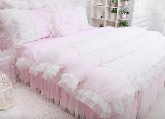Beautiful Korean Rose Bedding Sets Luxury Girls Pink Lace Ruffle