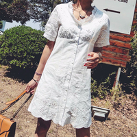 RZIV spring summer women dress casual hollow white color embroidery short sleeved dress