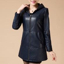 2017 Autumn And Winter Long Leather Sheepskin Coat Slim Leather Jacket Women Jaqueta De Couro Feminina