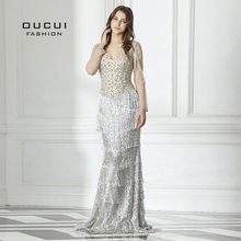 oucui Real Photos Long Sleeves Mermaid Evening Dress