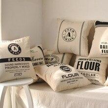 Negro y estilo blanco 45*45cm funda de cojín vintage de moda cojín decorativo de lino y algodón cubre cojines