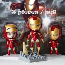 Free Shiping Cartoon Anime 3 pieces set Manual Doll Marvel Avengers Alliance Three Iron Man PVC