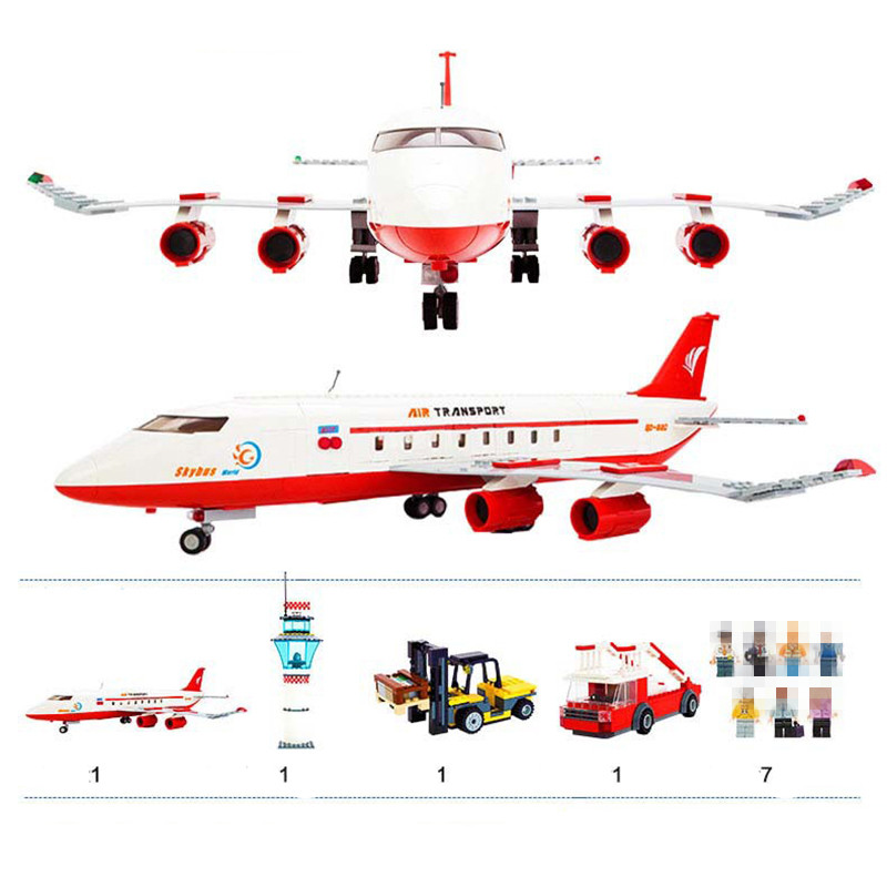 StZhou City Passenger Airplane Blocks 856pcs Bricks Building Block Compatible with all brand Birthday Gift Toy Brinquedos gudi block city large passenger plane airplane block assembly compatible all brand building blocks educational toys for children