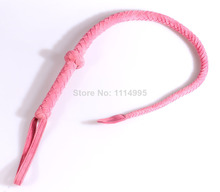 85cm Pink/Black braided suede leather whip, leather Horse whip, flirting leather sex whip,adult sex products