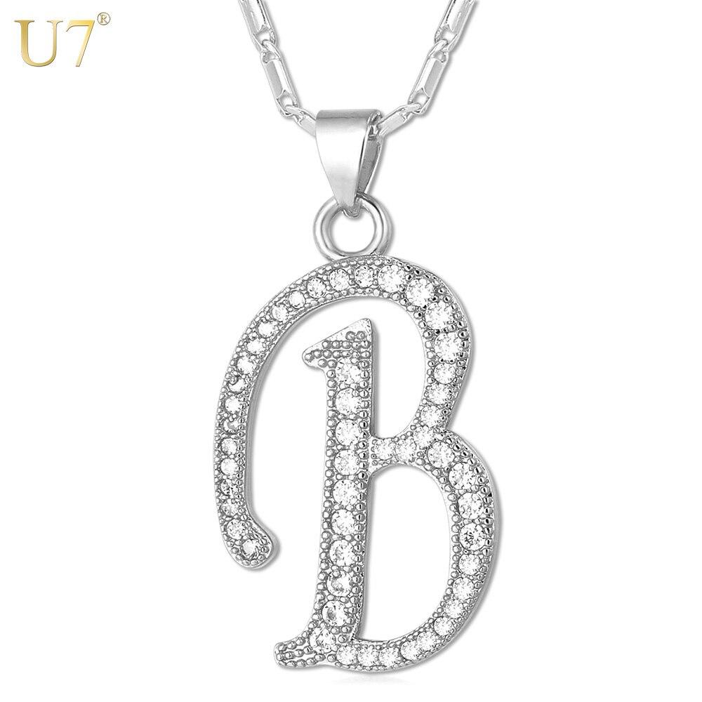 U7 Name Jewelry Alphabet B Letter Necklaces U0026 Pendants Gold/Silver Color  Cubic Zirconia Necklace