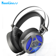 Buy Moonliness Computer Gaming Headset Game headphone Headband Over-ear Stereo Heavy Bass LED Light with Mic for PC Gamer
