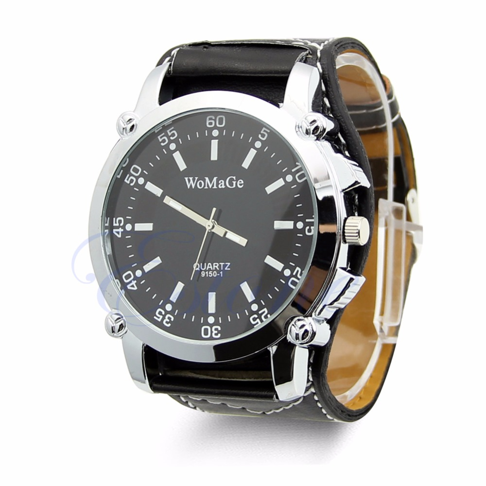 Leather Band Men's Watch Steel Dial Analog Sport Quartz WristWatches