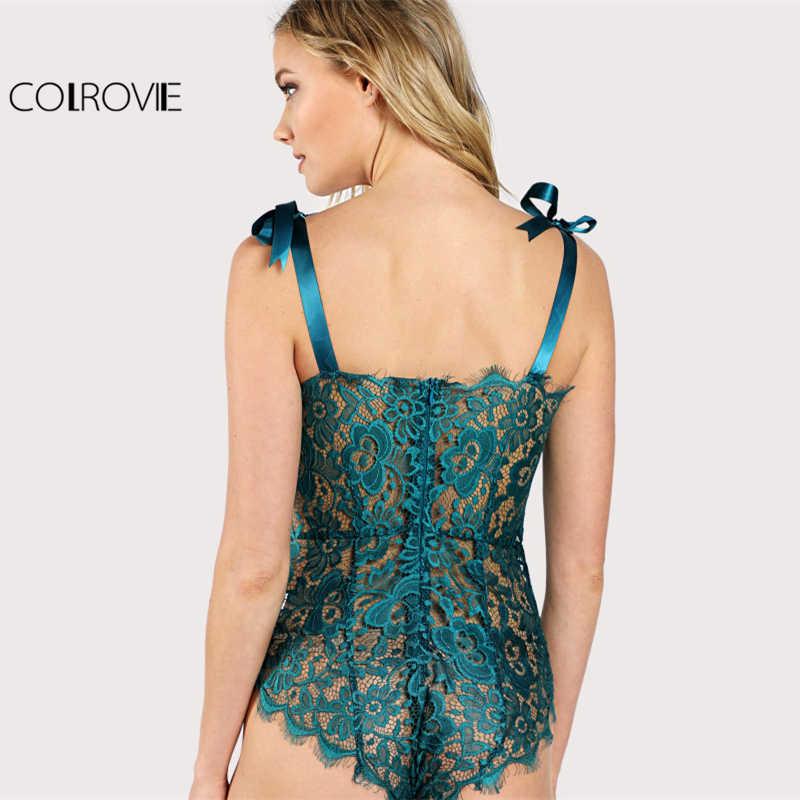 COLROVIE лента цветочное Кружевное боди галстук-бабочка на плечо женское зеленое милое летнее боди сексуальное посмотрите на дешевое элегантное боди