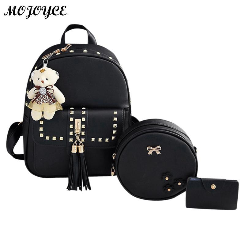 Кисточкой Для женщин рюкзак 3 шт./компл. Кожа PU Рюкзак для девочки SAC DOS Femme Mochilas Mujer Женский школьная сумка новый Дизайн
