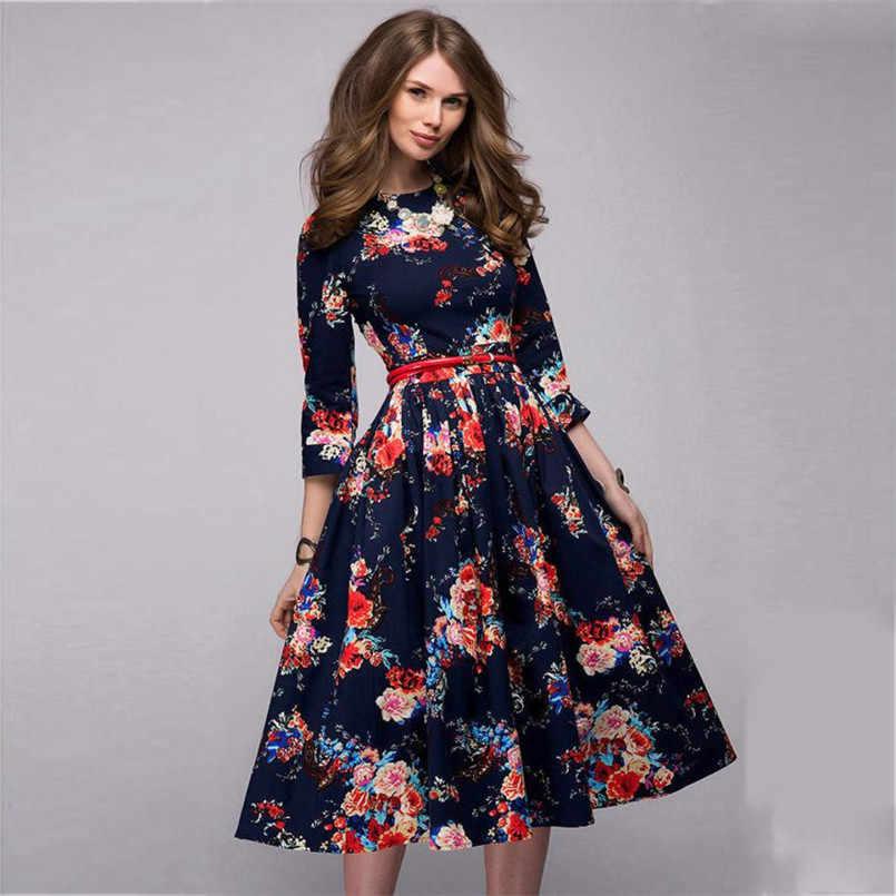 Vestidos 2018 Playa Vestidos De Moda Women Ladies Half Sleeve Floral Printing Retro Dress Flora