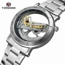 FORSINING nowe mężczyźni automatyczne mechaniczne zegarki modny top luksusowa marka ze stali nierdzewnej zegarek skeleton Sport męski zegarek w Zegarki mechaniczne od Zegarki na