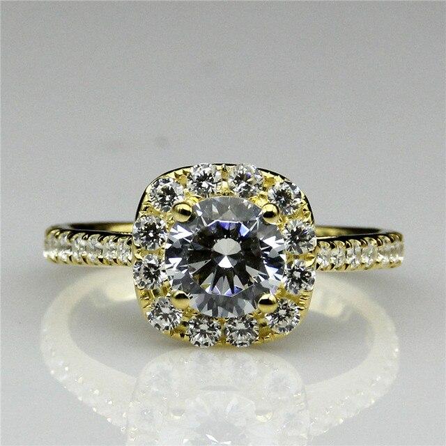 LASAMERO Halo Акцент Diamond 1CT Положительный Результат Теста Moissanites Кольцо 9 К Желтого Золота Свадьба Обручальное Кольцо Лаборатория Grown Бриллиантовое Кольцо