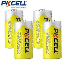 4 Pz/lotto PKCELL 5000mAh Dimensioni C Batteria 1.2V Ni Mh Batterie Ricaricabili