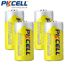 4 pièces/lot PKCELL 5000mAh taille C 1.2V batterie Ni MH Batteries rechargeables