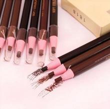 2 pçs/lote Maquiagem duradoura sobrancelha lápis de sobrancelha maquiagem à prova d' água e suor macio e delicado fácil de cor puxar preto