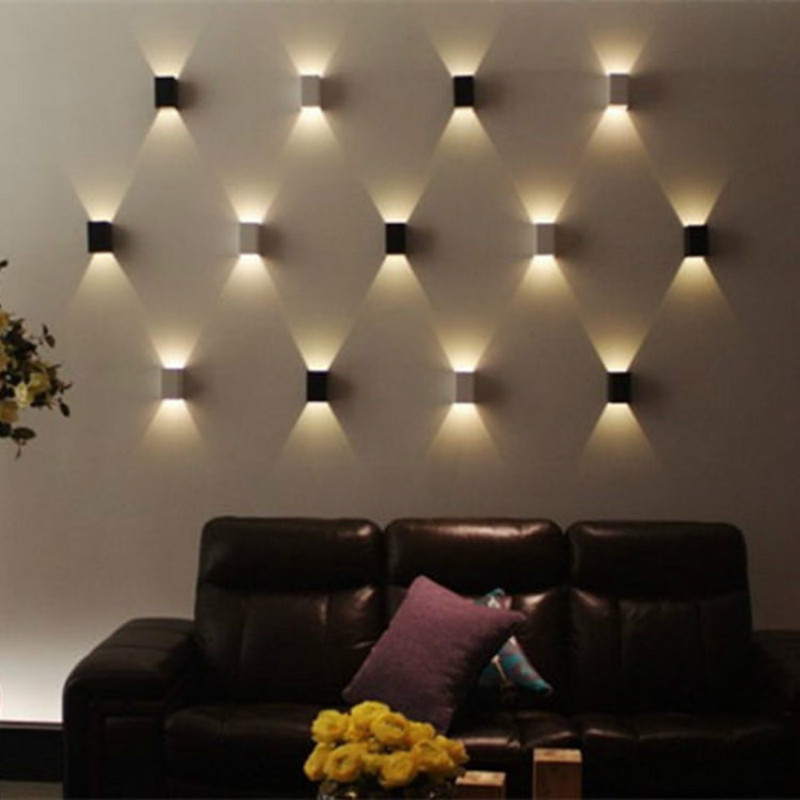 1PCS 3W LED Wall Lamp With Square Shape Modern Household Living/Bed Room LED Spot Light Aluminum Wall Mount Light