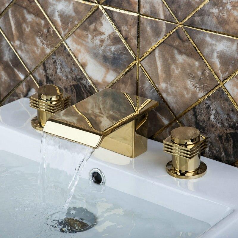 Bathtub Basin New bathroom sink golden finisn Deck Mounted K1Z double Handle 3pcs Faucets,Mixer Tap deck mounted bathroom basin sink bathtub