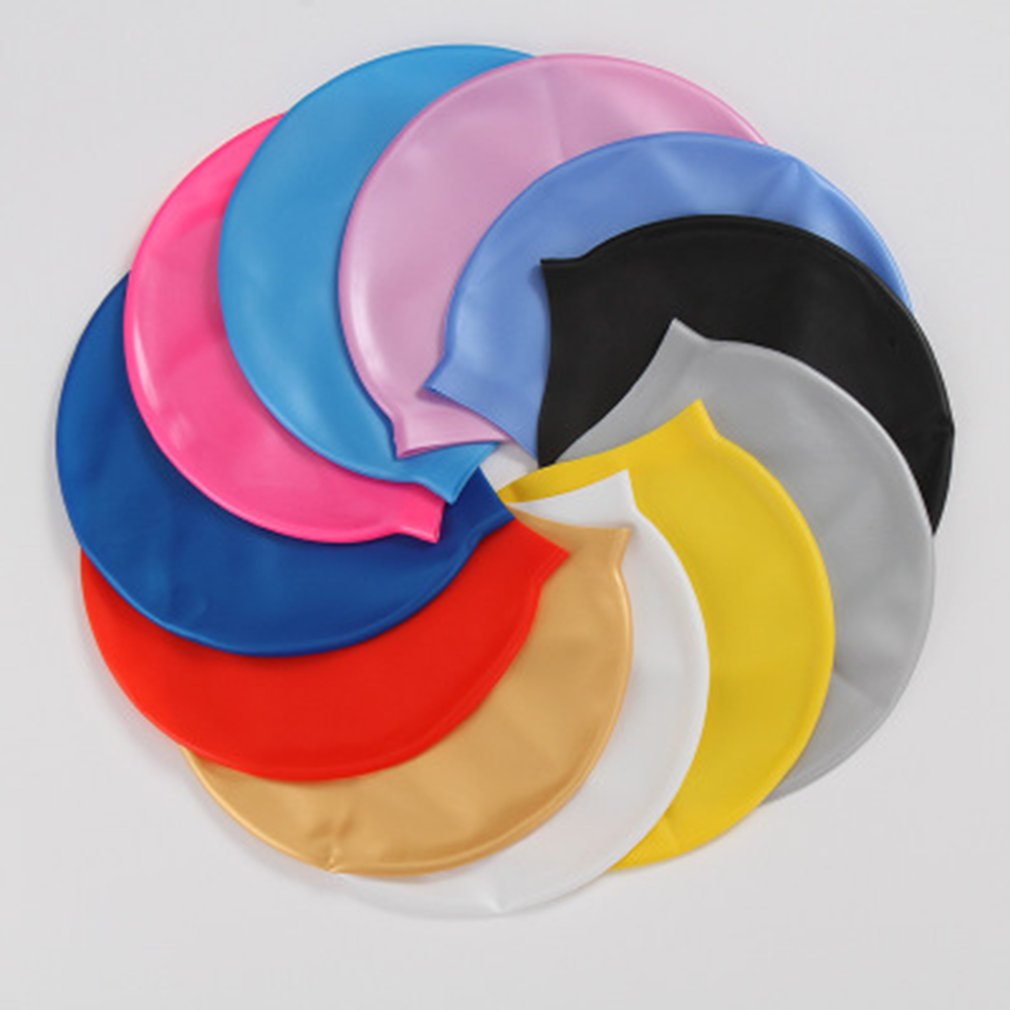 Soft Silicone Waterproof Swimming Caps Protect Ears Long Hair Sports Swim Pool Hat Swimming Cap for Men & Women Adults