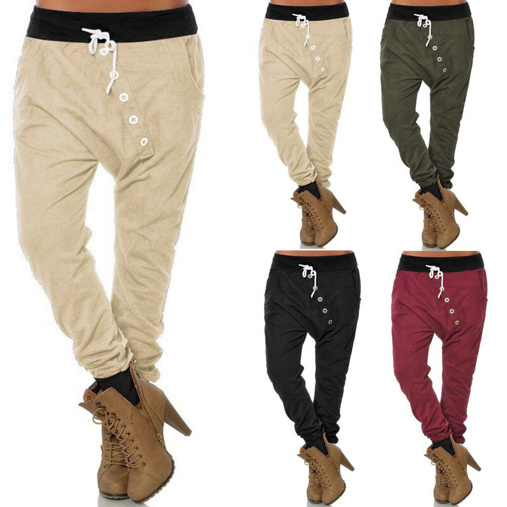 women casual harem pants plus size pantalon femme elastic. Black Bedroom Furniture Sets. Home Design Ideas