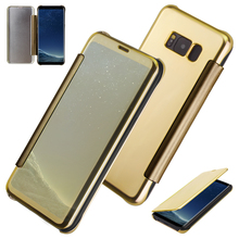 For Samsung font b S8 b font Plus Case Leather Flip Mirror Protector Cover font b