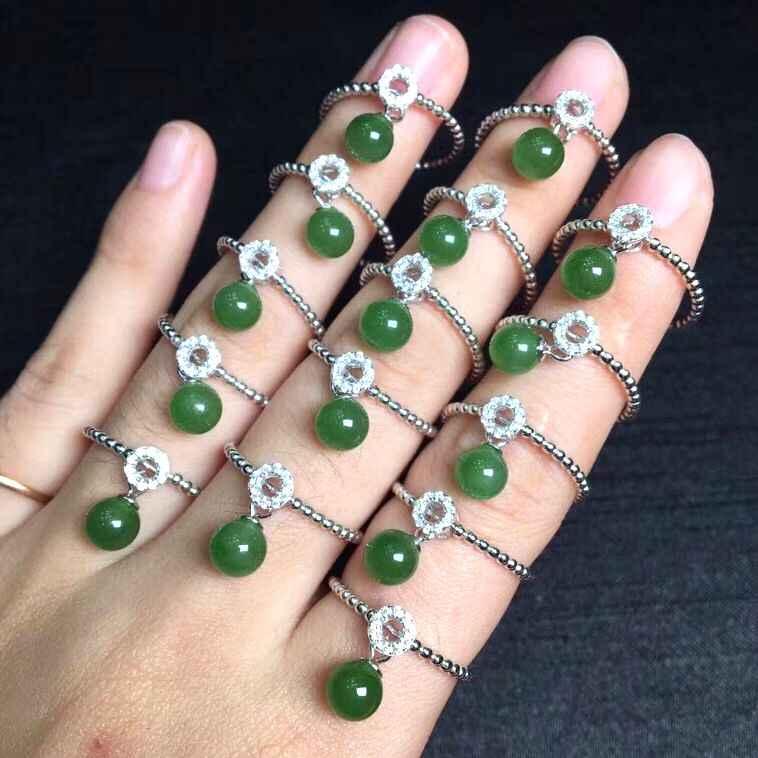 แฟชั่นปรับขนาดแหวนผู้หญิงจริง S925 Silver Inlay หยกสีเขียวอัญมณีเครื่องประดับ * ฟรีกล่อง