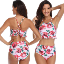 Sexy Women High Waisted Bikini Set Halter Ruffle Top Floral Printed Swimsuits Brazilian Swimwear Halterneck Bathing Suits 2019
