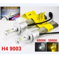 TOYIKIE 1Set H4 60W 8000LM S5 LED Headlight LUMI ZES Chip Dual Color Changeable 3000K Golden