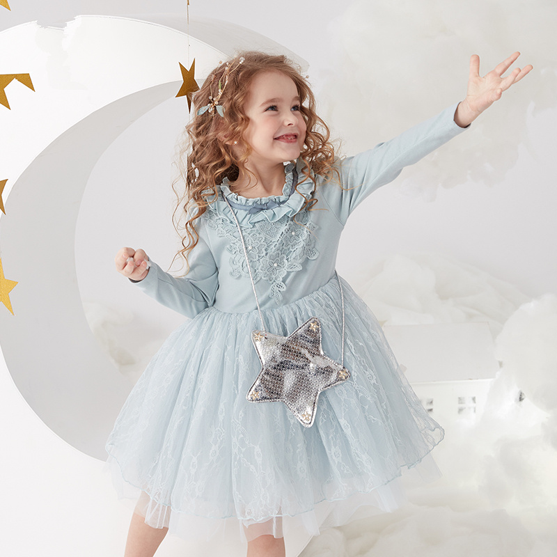 Girls spring long-sleeved dress spring and autumn 2019 new Korean version of the dress lace princess dress children dress babyGirls spring long-sleeved dress spring and autumn 2019 new Korean version of the dress lace princess dress children dress baby