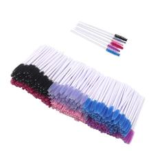 1000 Pack Einweg Wimpern Pinsel Mascara Zauberstäbe Groß für Verlängerung Lash Pinsel Applikator Zauberstab Make Up Tool Kit Weiß Stick