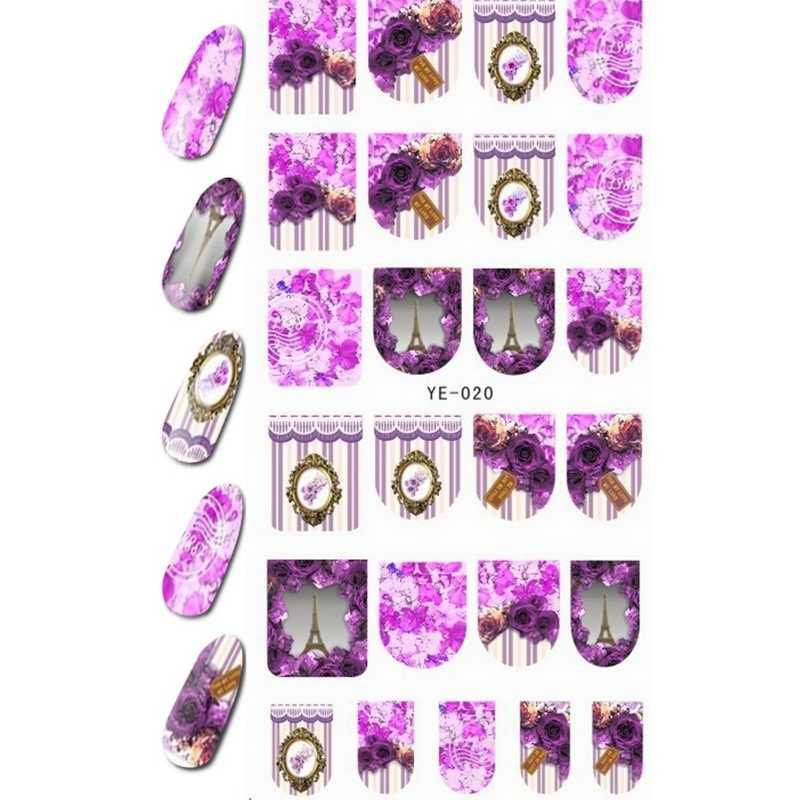 Водные Наклейки, Переводные картинки на ногти полное покрытие штора с цветами башня Парижа ангел ребенок сестра животное YE019-024