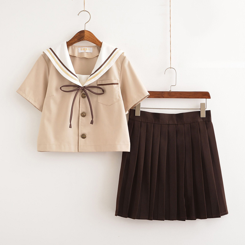 Novelty & Special Use Work Wear & Uniforms Considerate New Arrival Japanese School Girl Uniforms Short Sleeve Brown Shirt+skirt With Tie 3pcs Set China S-xxl Size