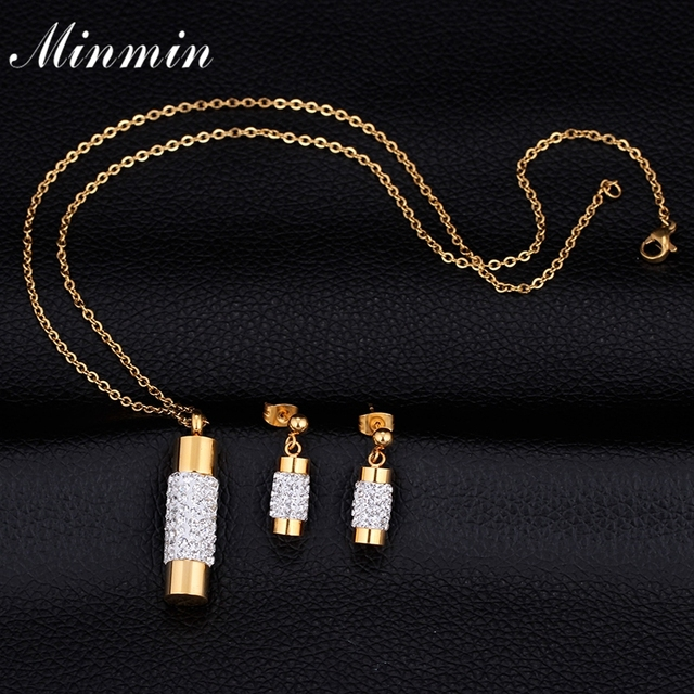 Minmin 316L Stainless Steel Gold Plated Jewelry Sets for Women Gifts Necklace Earrings African Beads Jewelry MTL437