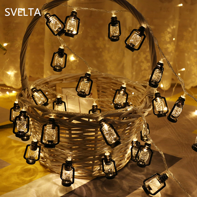 SVELTA 20 Bulbs Retro Garland LED Lantern String Lights Christmas Battery Powered Fairy Lights Holiday Party Outdoor Decorations